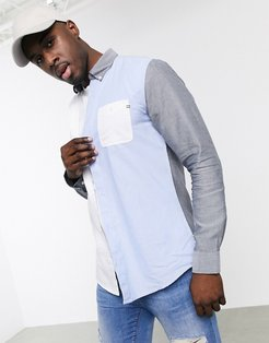 color block oxford shirt in blue