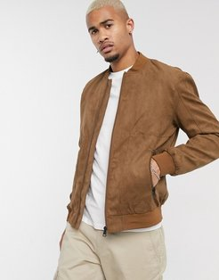 faux suede bomber in tan-Beige