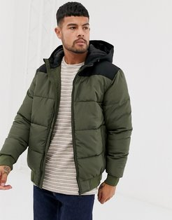 hooded padded jacket in green