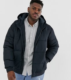 hooded padded jacket in navy