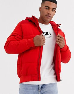 hooded padded jacket in red
