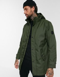 padded parka with removable hood in green