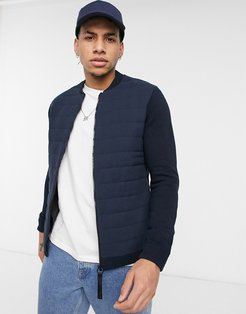 premium puffer and knit jacket in navy-Black