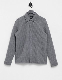 premium quilted overshirt in gray-Grey