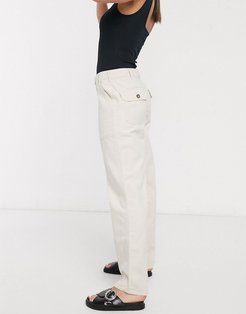 straight leg jeans with pocket detail in ecru-White