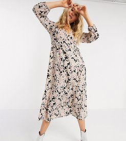 midi wrap dress in light pink floral-Multi