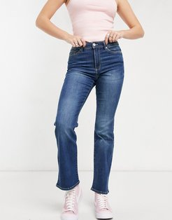 wauw flared jeans with mid rise in medium blue-Blues