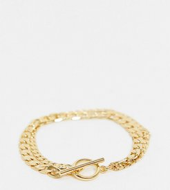 multirow chain bracelet in gold plate