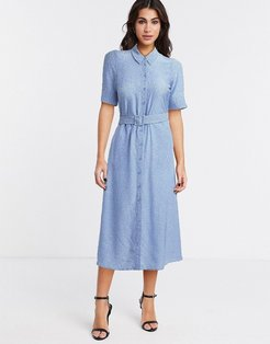 & Other Stories micro-floral print belted midi shirt dress in blue-Blues