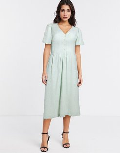& Other Stories floral angel sleeve button detail midi dress in sage green