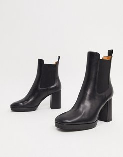 & Other Stories leather chunky heel platform ankle boots in black