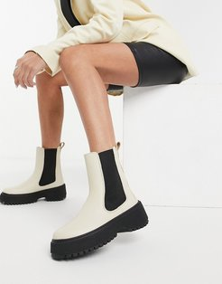 & Other Stories leather chunky sole pull on boot in beige-Neutral