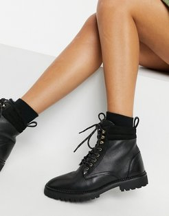 & Other Stories leather lace-up shearling lined boots in black