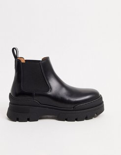 & Other Stories leather pull on short chunky sole flat boots in black