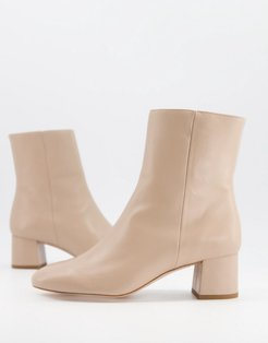 & Other Stories leather round toe heeled boots in beige