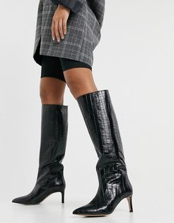 & Other Stories leather slouch knee high boots in black