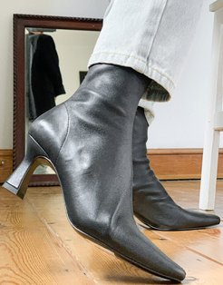 & Other Stories leather sock boots with sculpted heel in black
