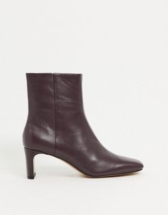 & Other Stories leather square-toe heeled boots in burgundy-Red