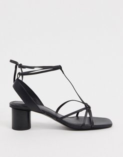 & Other Stories leather square toe sandal with round heel in black