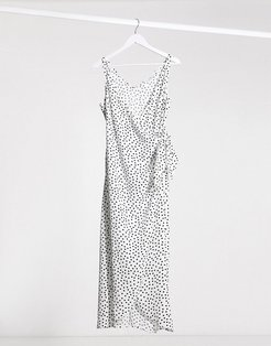 & Other Stories polka dot knot detail midi dress in off-white