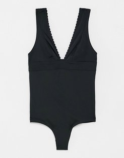 & Other Stories recycled scallop edge plunge swimsuit in black
