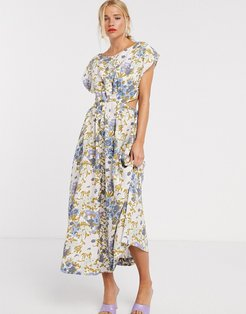 & Other Stories retro floral print cut-out detail midi dress in multi-White
