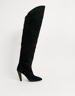 & Other Stories suede over the knee boot in black