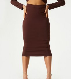 exclusive midi body-conscious skirt in chocolate-Brown