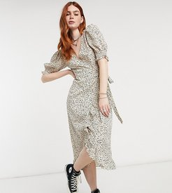 exclusive midi wrap dress with gathered sleeves in spot-Multi