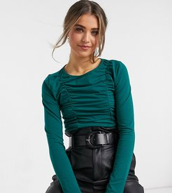 exclusive ruched detail long sleeve top in emerald green