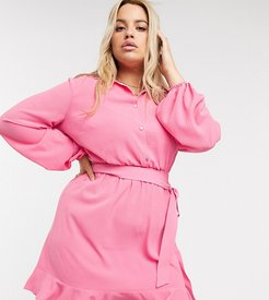shirt dress with frilly hem in pink