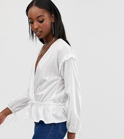 wrap front ruched blouse in white