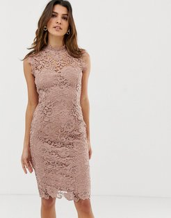 high neck lace midi dress in taupe-Brown