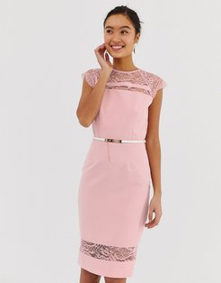 lace detail midi dress with belt in white-Pink