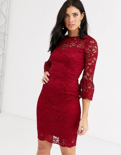 lace dress with fluted sleeves-Red