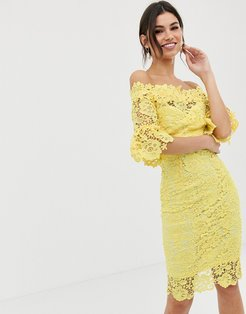 Off Shoulder Crochet Dress With Frill Sleeve-Yellow