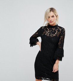 High Neck Midi Lace Dress with Double Frill Sleeve-Black