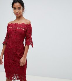 off shoulder crochet midi dress with frill sleeve in oxblood-Red
