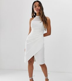 wrap front midi dress with lace top in white