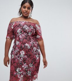 Bardot Floral Midi Lace Dress-Multi
