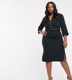 belted midi dress with roll sleeve and double split in black