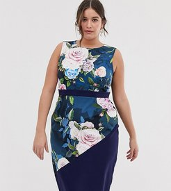 midi pencil dress in floral print-Multi