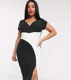 wrap midi dress with split in black and white-Multi