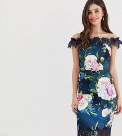 bardot midi dress with lace detail in floral print-Multi