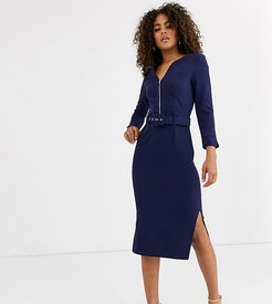 belted midi dress with side splits in navy