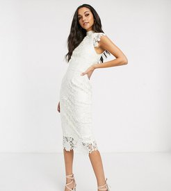 high neck cap sleeve lace midi dress in winter white