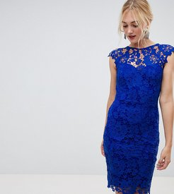 midi lace dress with scalloped plunge back in bright blue