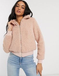 jacket in borg-Pink