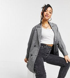 double breasted blazer in gray check-Grey