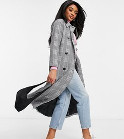 double breasted longline trench in check-Black
